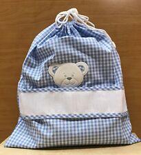 Sacchetto asilo/nascita tessuto quadretti inserto tela aida con faccina orso