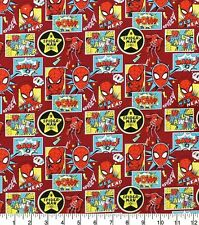 Marvel Spiderman Outside In The Box Red 100% Cotton Fabric FAT QUARTER
