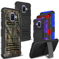 For Samsung Galaxy A6 2018 Shockproof Hybrid Armor Stand Belt Clip Cover Case