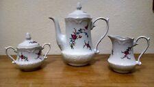 Wloclawek Porcelana Teapot Creamer Sugar Pink Rose