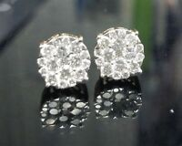 DEAL! 1.10CTW NATURAL ROUND DIAMOND CLUSTER HALO STUDS EARRINGS IN 10K GOLD 8MM