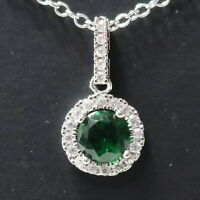 "2 Ct Round Green Emerald Halo Pendant Necklace 14K White Gold Plated 18"" Chain"