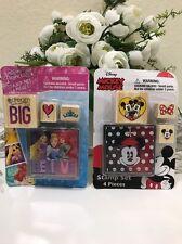 Lot Of 2 Disney Mickey Mouse/ Disney Princess 4 Piece Rubber Stamp Sets