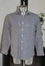 pretty shirt navy blue chequered FAÇONNABLE T 39 -15 1/2R perfect condition