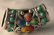 Rare Sterling Silver 925 With Colored Gems 2 Sided Slider