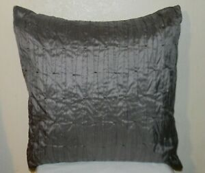 "Calvin Klein FFZKE20A Stitched Bands Steel Decorative Silk Pillow 20"" x 20"" Gray"
