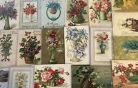 ~ Lot of 20 Flowers in Vases & Baskets ~Vintage Floral~ Greetings Postcards-b718