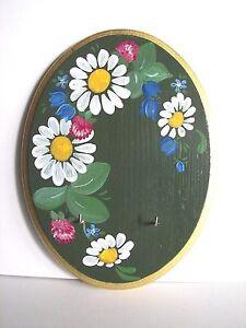 Keys Holder Hand Painted Vintage Flowers Floral Design Handmade Wood German Wall