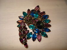 Aqua with Metal Accents Showstopper Vintage Rhinestone Brooch Purple Blue