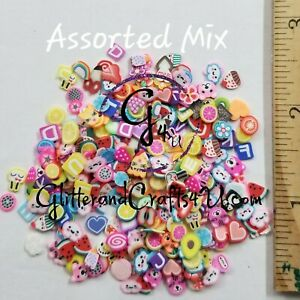 Assorted Fimo Polymer Clay Cane Slices for Charms, Phones, Nail Arts, Slime