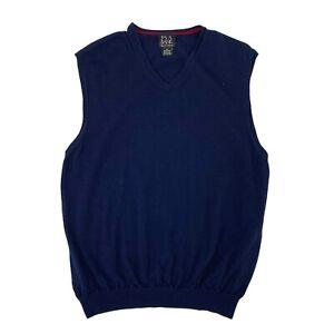 Jos A Bank Merino Wool Vest Men's Size XL Navy Blue V Neck Sleeveless Casual