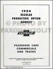 1954 Chevrolet Options RPO Book Car Corvette Truck Regular Production Accessory