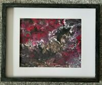 """11""""x14"""" Framed Acrylic Painting Abstract Art signed artist Wall Decor home art"""