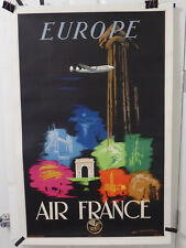 1948 AIR FRANCE POSTER FOR EUROPE  MOUNTED ON LINEN MAURUS