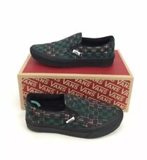 NEW Vans ComfyCush Slip On Plaid Checkerboard Skate Shoes Green Black Womens 7