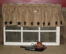 "Burlap Star Valance 72"" Curtain Window Covering Natural Burlap Farmhouse Decor"