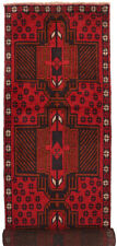 1051 # Red Handmade Traditional Baluchi Rug 311 x 82 cm Hallway Runner Carpet