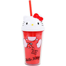 Sanrio Hello Kitty clear cup with straw Japan Brand-new