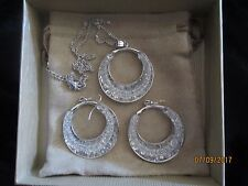 MONICA FRIEND DESIGNS (Tm) BINCHE LACE (Tm) ~LARGE PENDANT WITH CHAIN & EARRINGS
