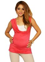 Coral Sleeveless Maternity Top Blouse Pregnancy Neck White Work Attire Solid