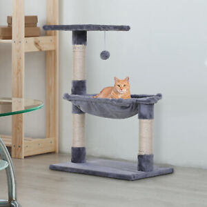 Cat Tree Scratching Posts  Natural Sisal Hammock Bed Kitty Activity Center 70Hcm