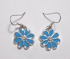 Dangle earrings - 18mm Blue enamel flower + crystal centre
