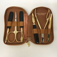 Lana Marks Ostrich Case With Solingen Manicure Pedicure Set Tan Tone France