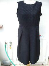 Escada Negro Vestido de Brocade euro 42 UK 16 nos 12 Negro + Etiqueta Azul Nuevo