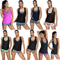 Womens 3 Piece Padded Push Up Tankini Cover-Up Boyshorts Swimwear Swimsuit Plus