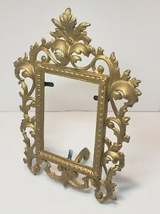 ANTIQUE GOLD-GILT CAST IRON PICTURE FRAME w/ EASEL STAND IRON ART JM34