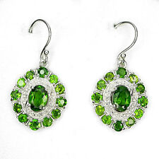 Sterling Silver 925 Genuine Natural Chrome Diopside Oval Shaped Earrings