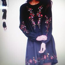 Miss Selfridge Embroidered Smock Mini Peasant Embroidered Flowers Mini Dress