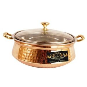 Hammered Steel Copper Casserole Donga with Glass Lid Tableware Serve ware 1250ML