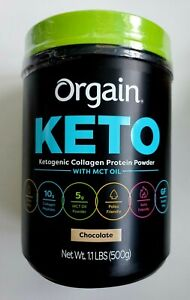 Orgain Keto Collagen Protein Chocolate w/ MCT Oil, 1.1 lbs (500 g), 25 Servings