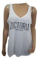 Victoria's Secret Sport V- Neck Tee-Tank Sleeveless White Small NWT Open Back