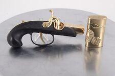 SET OF TWO LIGHTERS DERRINGER PISTOL TABLE GUN & MOTORCYCLE DESIGN 2217B