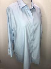 Women's Foxcroft 18W Non Iron Stretch Blue Long Sleeve Top Blouse Plus Size