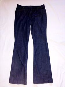 WHBM White House Black Market: Mid Rise Trouser Denim Pants Jeans: Dark Blue, 8