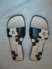 Sandals for Women,Brand: Montego Bay Club, Size: 7.50, Black-White, 1-inch heel