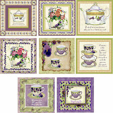 Pansies vintage 8 inspired tea cup teapot blank  stationery set with envelopes