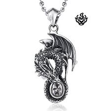 Silver pendant vintage style stainless steel dragon crystal necklace 3D