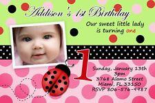 LADY BUG BIRTHDAY PARTY INVITATION 1ST PINK GREEN C4 INVITE LADYBUG CUSTOM BABY