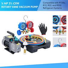 Omt 35cfm 14hp Rotary Vane Vacuum Pump Amp Manifold Gauge Set For Home Amp Auto Ac