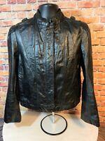 Vintage Bermans Black Leather Motorcycle Biker Jacket Coat Womens Size 12 EUC