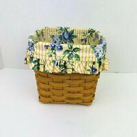 Vintage Longaberger 1999 Utensil Basket with Fabric and Plastic Liner