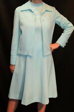 S 2pc Vtg 1970s Mod Dress + Jacket Space Age Vogue Couturier 70s Blue Knit