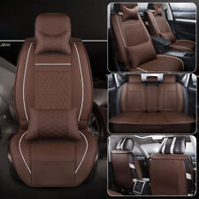 Universal Car Seat Cover Protector 5 Seat w/Cunsions+Headrests PU Leather Coffee