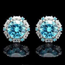 2 Ct Blue Topaz & Diamond Cluster Earrings 14k White Gold