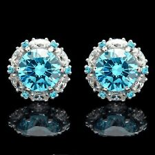 2 CT Blue Topaz Halo Marquise Created Diamond Screwback Earrings 14k White Gold