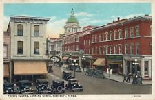 Vintage 1936 Somerset, Pennsylvania PUBLIC SQUARE Town View Printed Postcard